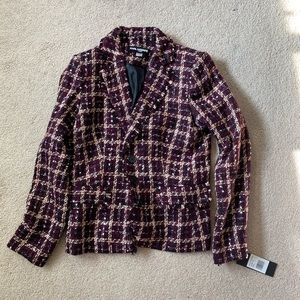 Karl lagerfeld tweed purple jacket